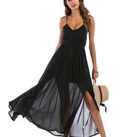 现货 速卖通外贸欧美带胸垫美背吊带雪纺长连衣裙8024