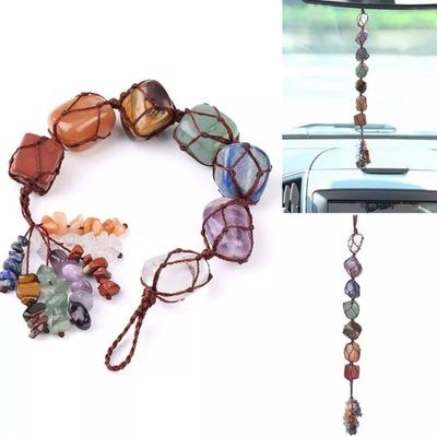 2pcs 7 Chakra Car Hanging Rainbow Yoga Healing Follow Shape Pendant Amethyst car decor Tassel Pendant Jewelry