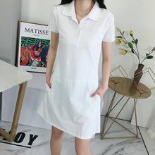 19年夏季新款短袖翻领纯棉女士连衣裙弹力卫衣裙 包邮一件代发