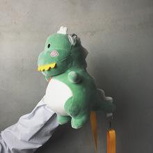一件代發網紅小恐龍卡通斜挎包創意玩具毛絨小包包韓版蹦迪單肩包