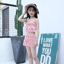 時尚分體兒童泳衣套裝女 保守平角女童泳衣 女士爆款吊帶連體泳裝