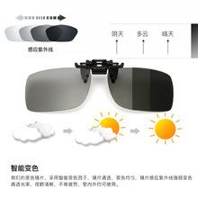 新款變色夾片方形偏光變色眼鏡夾片偏光司機鏡蛤蟆鏡近視眼鏡夾片