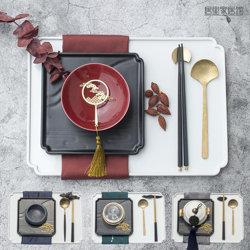 新中式创意装饰摆台餐具套装长方形陶瓷垫盘中式软装餐盘摆盘组合