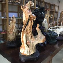 观音佛像柏木树根雕刻木质工艺品摆件创意家居饰品一个型号一件