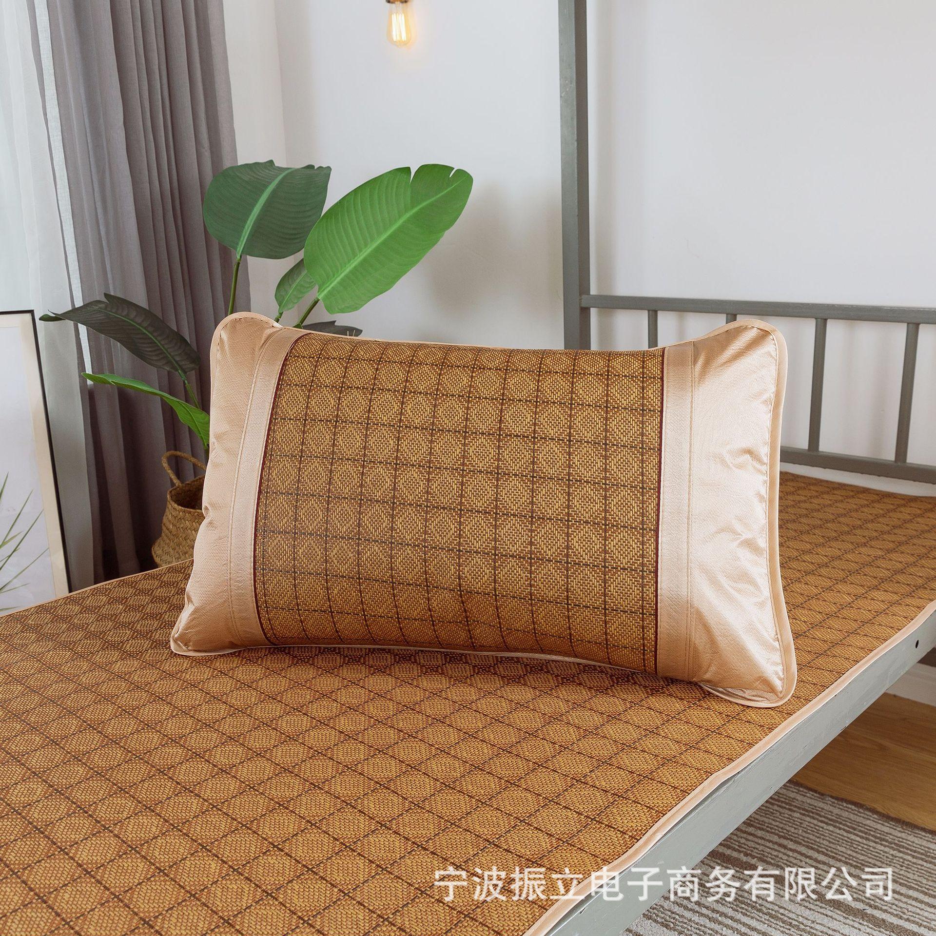 厂家批发夏凉枕套冰丝藤席单双人枕席 夏天枕头套凉枕套 一件代发
