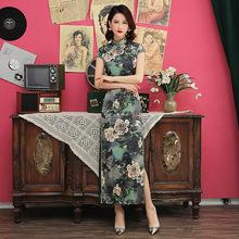 時尚改良絲綢印花修身短款少女日常春夏旗袍裙學生連衣裙唐裝旗袍