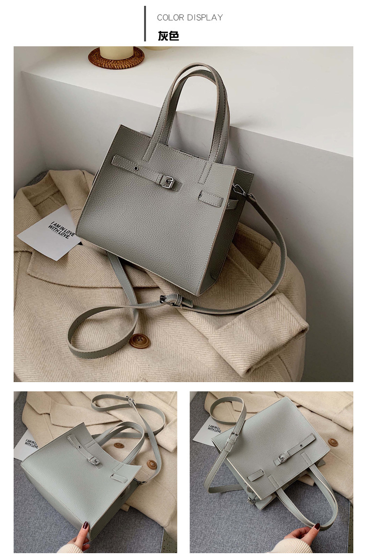 New simple large capacity solid color portable mother bag fashion lychee pattern shoulder diagonal package NHPB178682