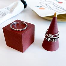 韓國東大門泰銀戒指雙層鏤空圈圈配飾S925純銀戒指女友圣誕禮物