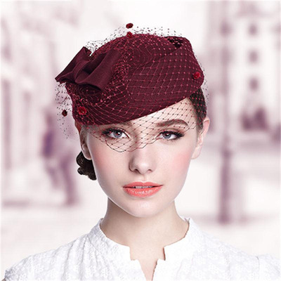 Party hats Fedoras hats for women Clothing workers high-end Beret customized women hat season warm woolen felt hat hat