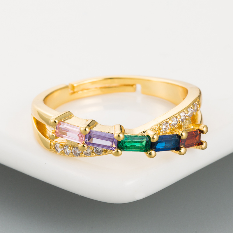 Europe and America creative geometric micro-inlaid rainbow zircon ring copper plated 18k gold hip-hop wind ring NHLN175568