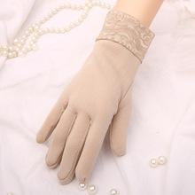 车缝手套厂家女韩版分指手套蕾丝花边加绒保暖牛奶丝手套女冬保暖