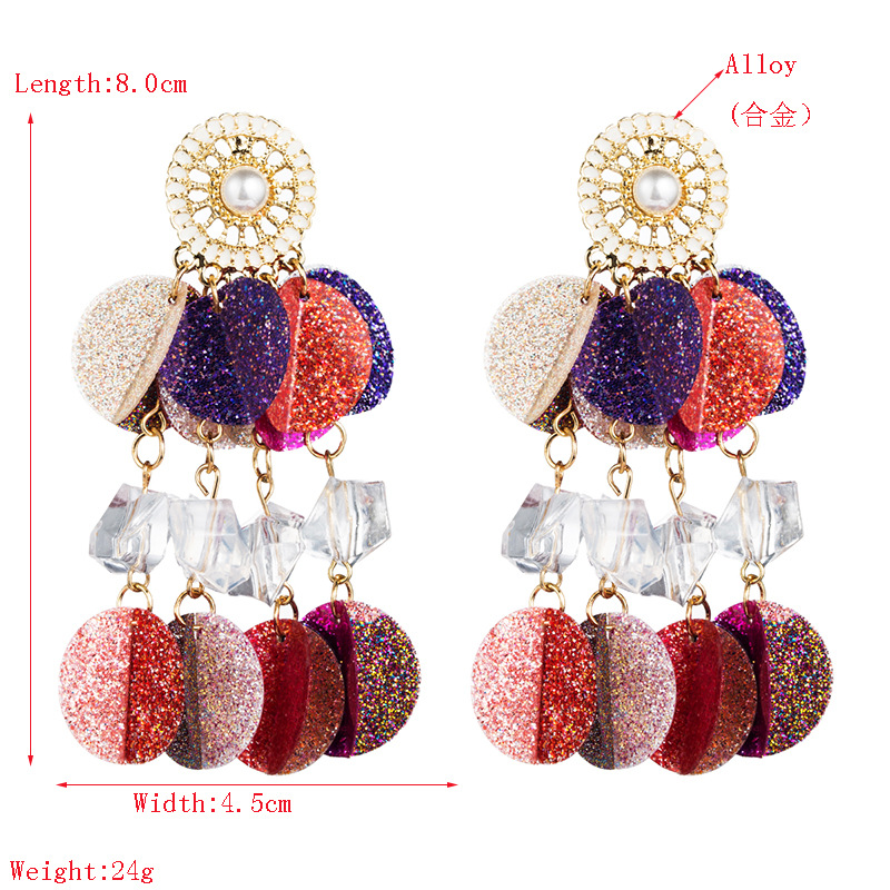 Gold powder round sequin tassel earrings female fashion round long earrings NHLN181848