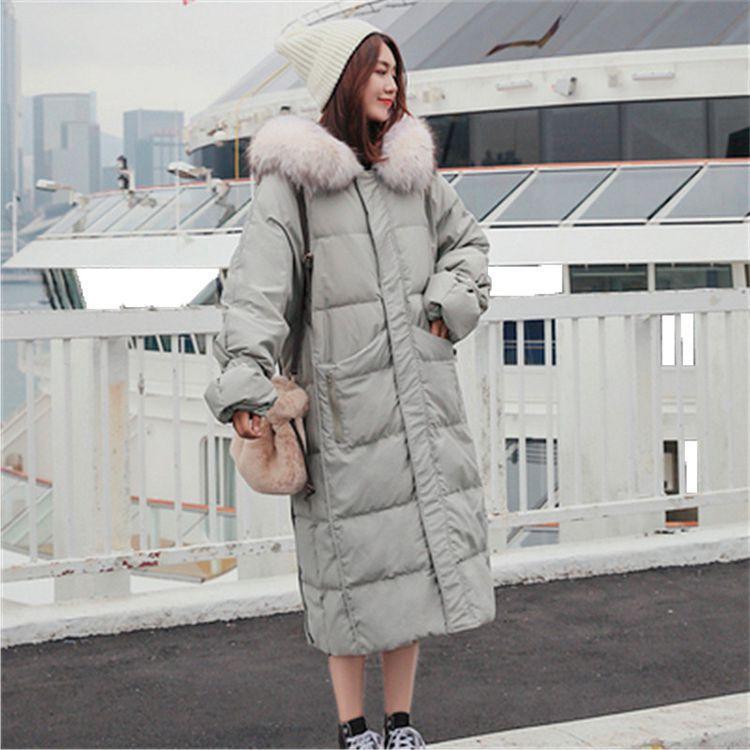 2019新款韩版大貉子毛领羽绒服女中长款大码宽松加厚休闲大衣外套