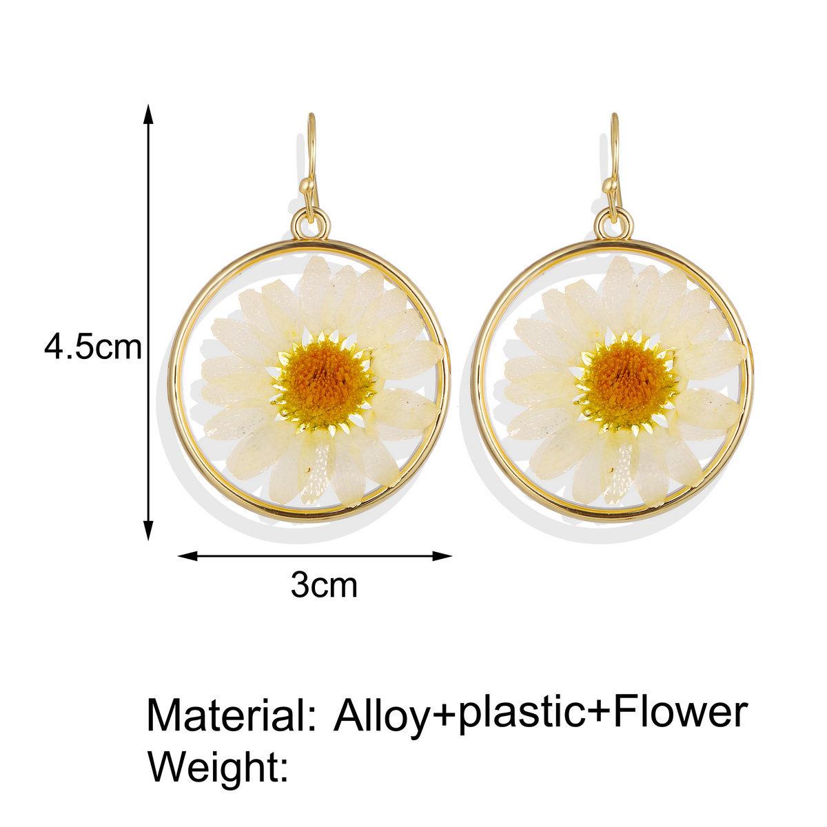 New Floral Geometric Earrings Creative Retro Ethnic Dried Flowers Epoxy Stud Earrings Wholesale NHPJ199621