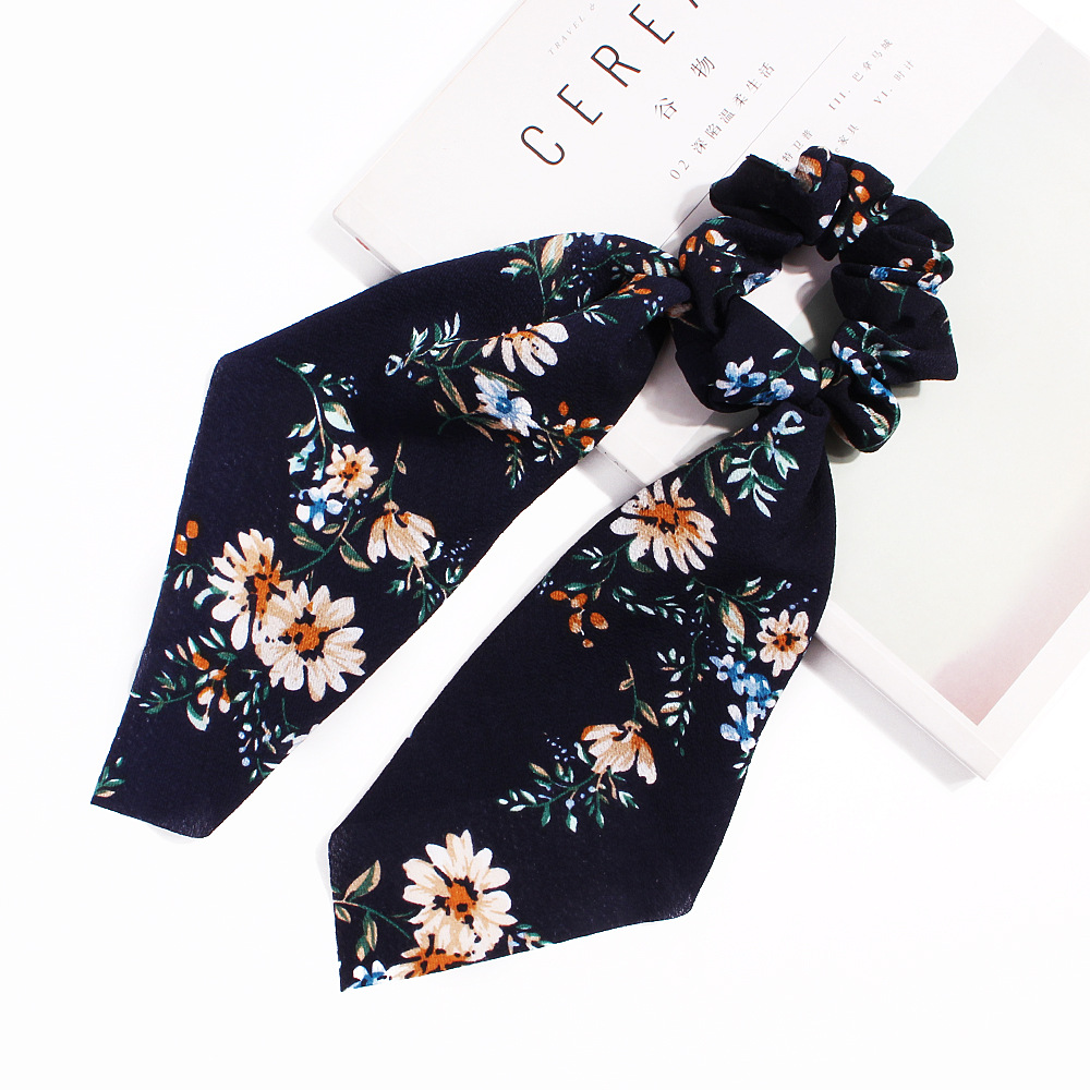 New fashion streamer tassel knot ponytail square scarf flamingo cheap hair ring wholesale NHDM205047