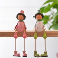 跨?#35802;?#36135;卡通田园风铁皮吊脚娃娃木质家居装饰摆件一件代发工艺品