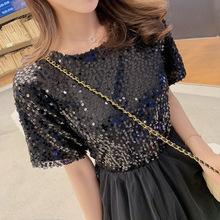 2019新款夏季黑色名媛聚會生日派對宴會小洋裝連衣裙亮片女F5988