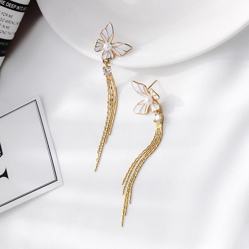Long Joker Tassel Butterfly Earrings NHQD184669