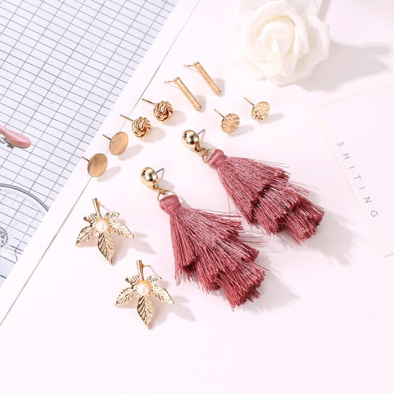Simple leaf fringed metal circle earrings NHDP145289