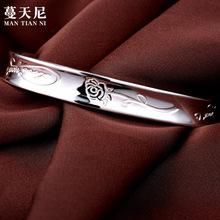 工厂直销 韩版简约足银玫瑰花图案时尚手镯手环女款 定制代发批发