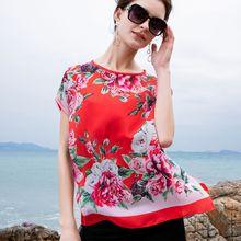 歐美時尚高端女裝批發2019夏季新款真絲雙縐玫瑰印花寬松短袖上衣