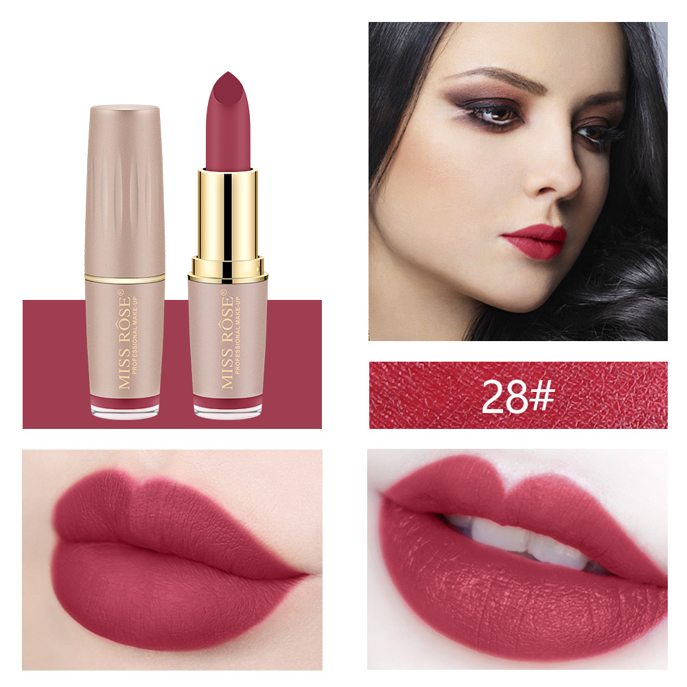Four-color matte lipstick brick gold tube lipstick is not easy to bleach lipstick #27 18