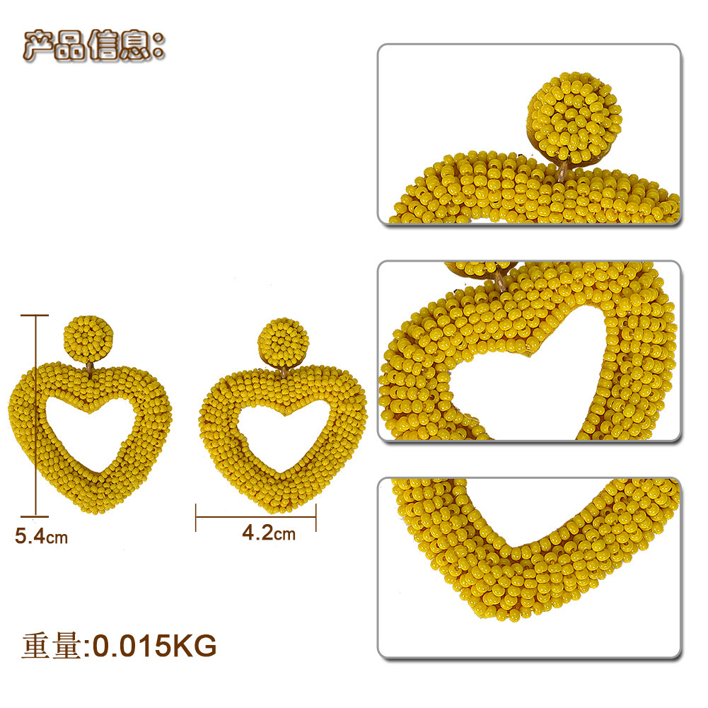 Womens Heart Shaped Beads Earrings NHJQ146677