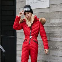 2019羽绒棉衣套装女连体加厚冬时尚女装收腰修身显瘦滑雪服女装