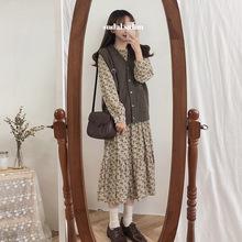 秋冬季洋氣長裙秋季馬甲冬裙子套裝女韓版學生學院風連衣裙兩件套