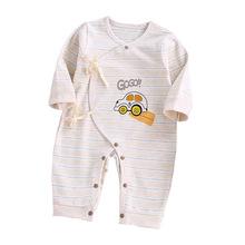秋季嬰兒服裝連體衣彩棉新生兒薄棉爬爬服哈衣寶寶偏繩哈衣