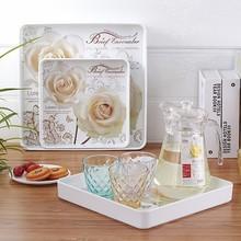 包邮 欧式正方形水杯托盘 茶盘创意仿瓷密胺餐盘 塑料家用水果盘