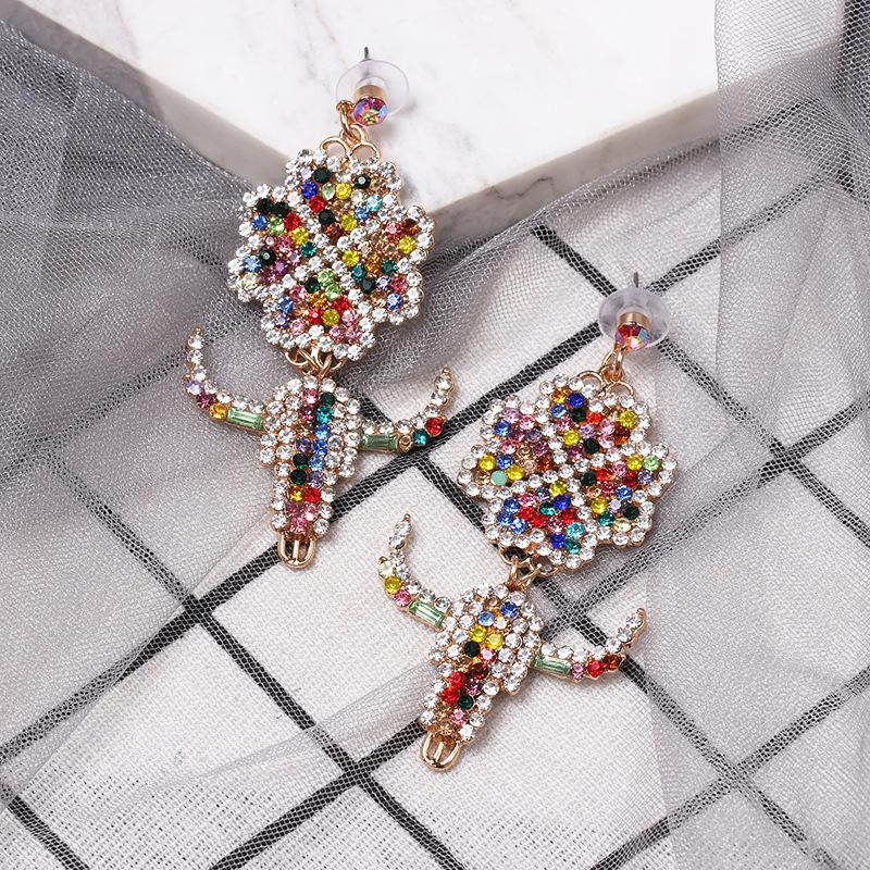 New color diamond four-leaf clover earrings NHJJ149080