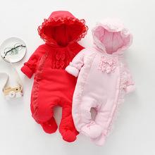 長袖加厚連體棉衣 保暖款寶寶帶帽連體衣 舒適蝴蝶結保暖寶寶服