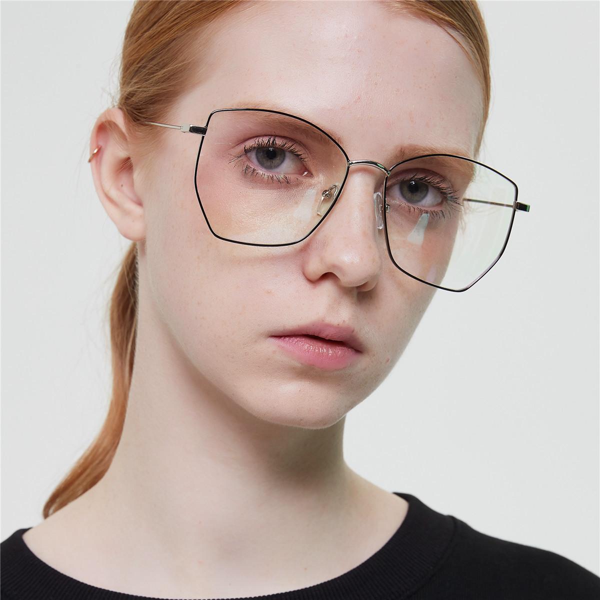 S1974大框架金属平光镜女 复古多边形菱形可做近视架眼镜男 韩版
