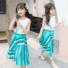 Quần áo trẻ em 2019 Mùa hè cho bé gái mới Bộ váy sọc màu Zhongda Tong Bộ vest in hai mảnh của Hàn Quốc Bộ đồ trẻ em