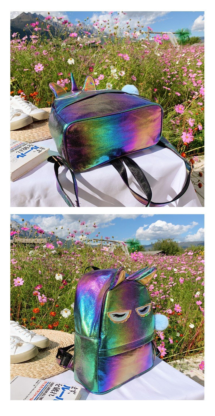 New laser sequins cute cartoon unicorn backpack fashion gradient color pu student bag NHHX172547