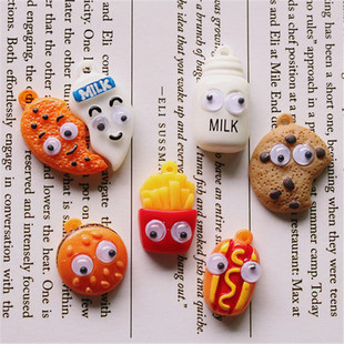 DIY simulation biscuits, MILK bottle, hamburger hot dog with active eyes, french fries food play resin pendant accessories