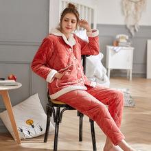 珊瑚絨睡衣女冬開衫三層夾棉加厚保暖可外穿休閑家居服套裝批發