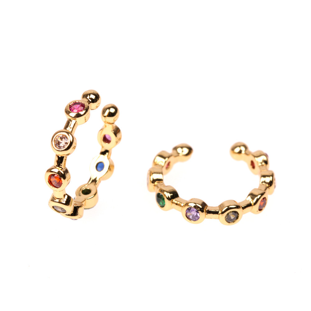 Jewelry Earrings Micro Inlaid Color Zirconia C-shaped Ear Clip Ear Jewelry Wholesale NHPY196222