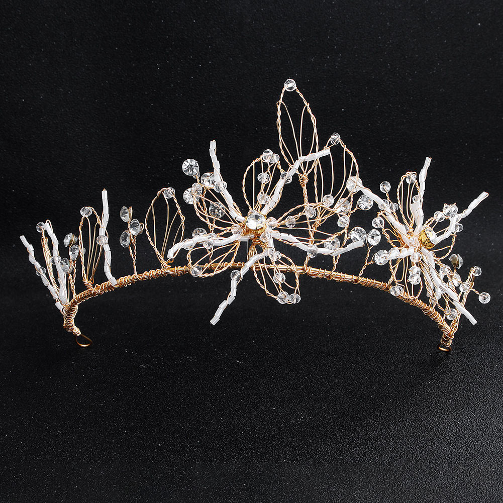 Womens Simple wild alloy flower hand-studded  Floral Imitated crystal Hair Accessories HS190418118181