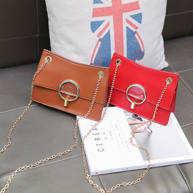 New small bag female spring new female bag ring chain bag simple fashion commuter single shoulder oblique cross bag