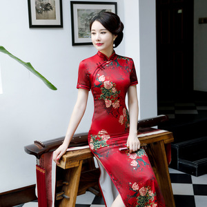 Chinese Dress Qipao for women long short sleeve cheongsam with large size Robes chinoises