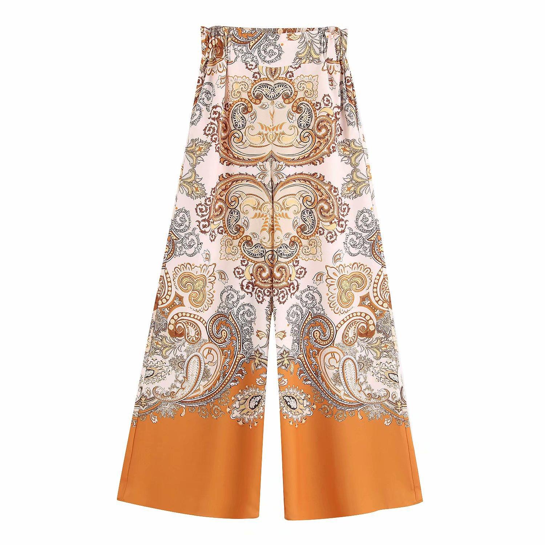 Wholesale blend wide-leg pants women's casual pants straight pants NHAM195059