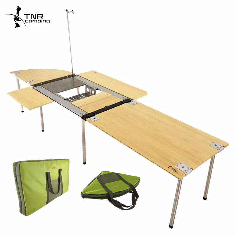 TNR outdoor action kitchen table IGT cuisine combination bamboo table multi-person barbecue table can be extended infinitely free combination