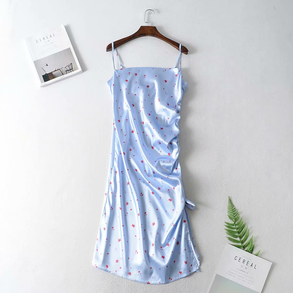 Fashion small octopus big pill paper satin strap dress NHAM153142