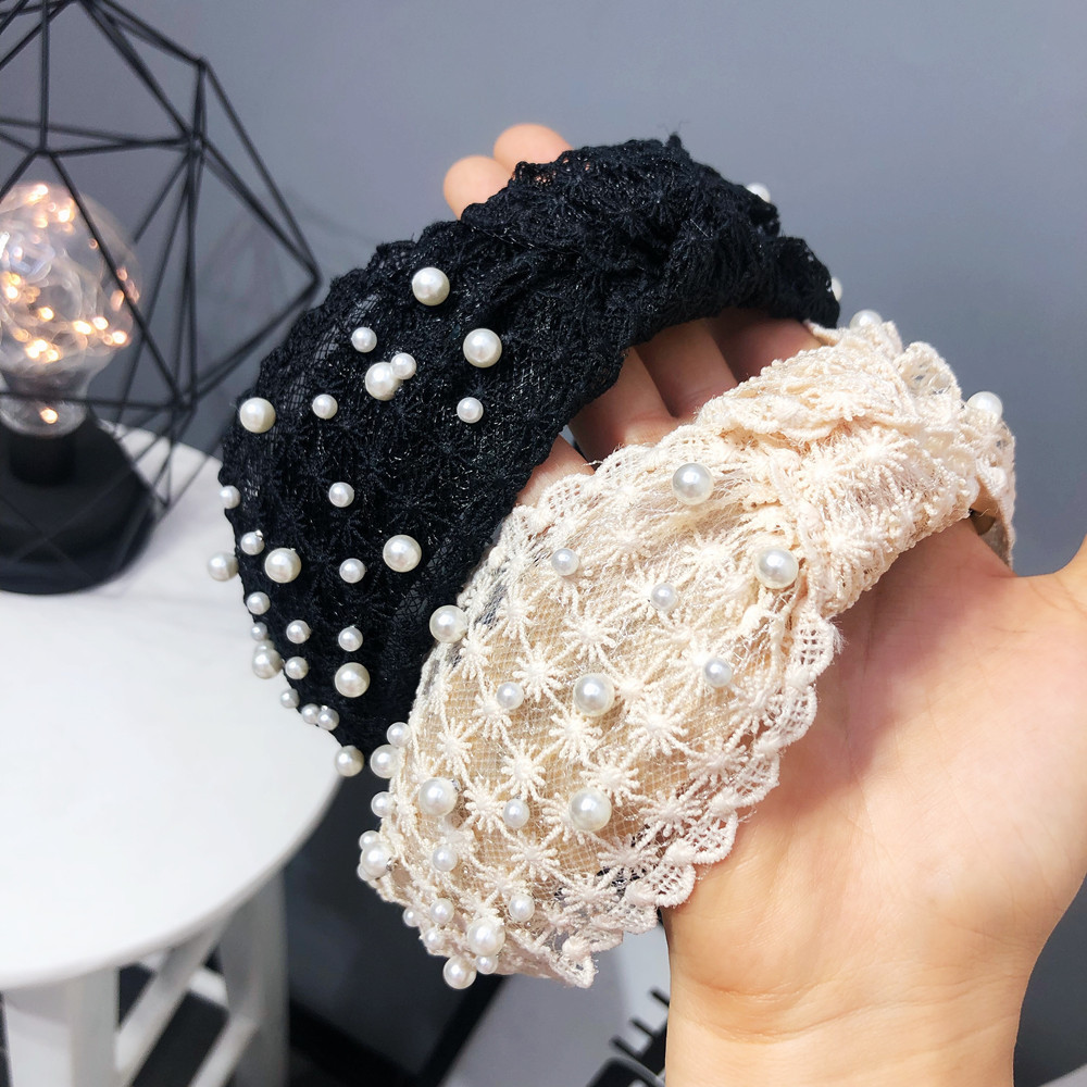 Korean  Pearl  Lace Knotted headband  NHFS284714