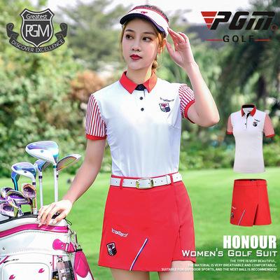高爾夫衣服 女士短袖T恤 網布透氣面料 條紋顯瘦上衣 運動套裝