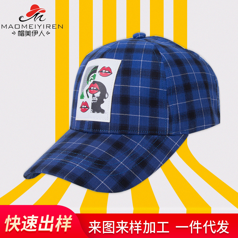 格子棒球帽男女韩版休闲百搭学生潮人韩国男女青年遮阳帽鸭舌帽