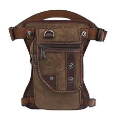 跨境厂家专供男士欧美帆布腰包户外斜挎战术腿包运动个性胸包定制