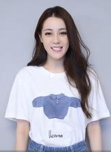 2019春夏迪丽热巴同款白色印花可爱蓝色小毛衣短袖T恤女圆领t恤衫